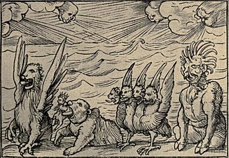 Daniel 7 - Daniel's vision of the four beasts - woodcut by Hans Holbein the Younger