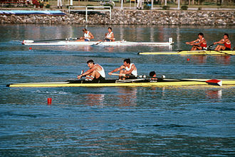 Coxed pair - Daniel Lyons and Robert Espeseth of the US Olympic team competing in the 1988 Olympic Games