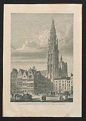 De toren van de kathedraal van Antwerpen en de gildehuizen, gezien van de Grote Markt