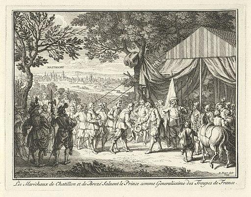 De veldmaarschalken de Chatellon en de Brezé begroeten prins Frederik Hendrik, 1632 Les Maréchaux de Chatillon et de Brezé saluent le Prince comme Generalissime des Troupes de France (titel op object), RP-P-OB-51.245