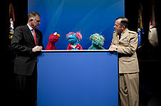 Defense.gov News Photo 100413-N-0696M-241 - Deputy Secretary of Defense William J. Lynn Chairman of the Joint Chiefs of Staff Adm. Mike Mullen and the Sesame Street Muppets Elmo Jesse and.jpg