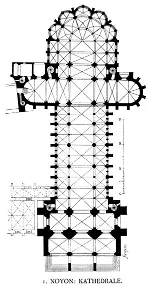 Noyon Cathedral - Floor plan (left is north; up is east)