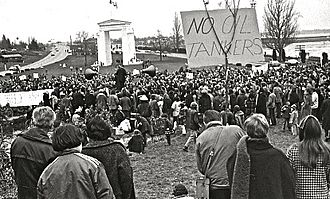 Oil tanker - Demonstration in Canada against oil tankers, 1970.