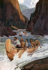 Men in canoes descend wild rapids in a river canyon.