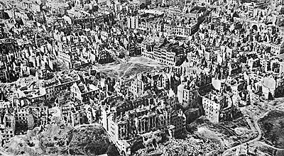 January 1945 aerial photo of destroyed Warsaw Destroyed Warsaw, capital of Poland, January 1945 - version 2.jpg