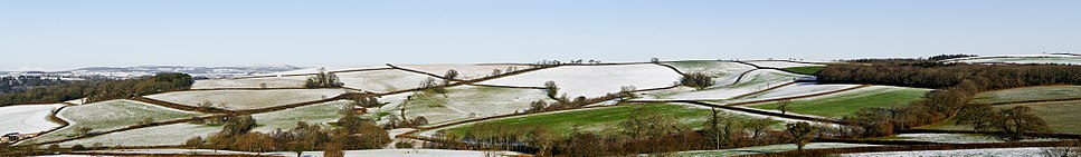 Fields in south Devon after a snowfall.