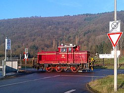 Diesel locomotive V60 1184 of the Vulkan-Eifel-Bahn in Trier 25 January 2016.jpg