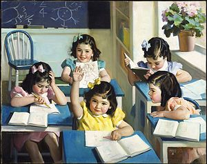Dionne quintuplets - Dionne Quintuplets – School Days, painting by Andrew Loomis, 1938