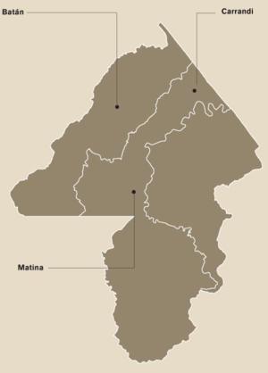 Matina (canton) - Districts of Matina canton