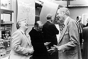 Dixy Lee Ray - Ray speaking with Robert Sachs, director of the Argonne National Laboratory, circa 1974