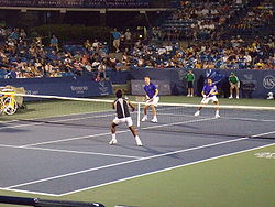 Dlouhy & Paes against Nestor & Zimonjic at the 2008 Cincinnati Masters.jpg