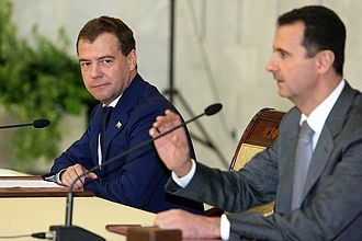 Russian involvement in the Syrian Civil War - Dmitry Medvedev in a joint press conference with the Syrian President following Russo-Syrian talks in May 2010