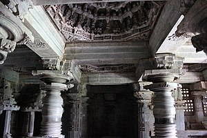Kedareshwara Temple, Halebidu - View of central domical bay ceiling supported by lathe turned pillars in the mantapa in the Kedareshwara temple at Halebidu
