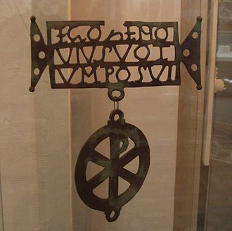 "History of Transylvania - The Biertan Donarium, an early Christian votive object of the early fourth century. The inscription in Latin reads ""EGO ZENOVIUS VOTUM POSVI"" (""I, Zenovius, offered this gift"")."