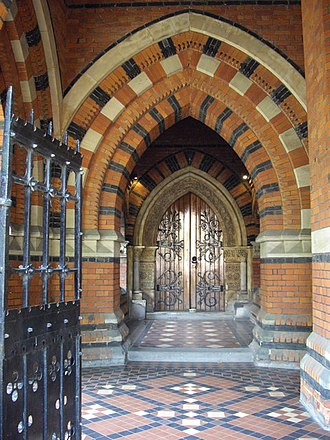 St James the Less, Pimlico - Polychromy in the campanile doorway