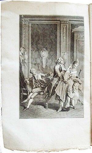 Claude Joseph Dorat - Image: Dorat les Prôneurs ou le Tartuffe littéraire gravure 1 EO Delalain 1777
