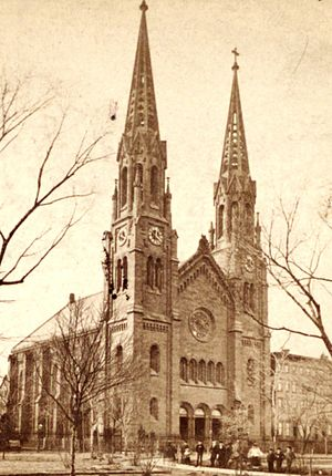 St. George's Episcopal Church (Manhattan) - The church before its spires were removed in 1889