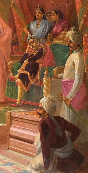 Virata - Virata in his court by Raja Ravi Varma (1848–1906)