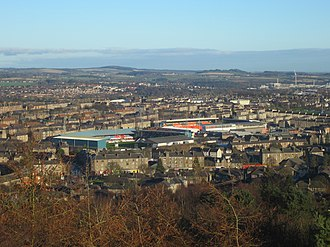 Dundee derby - view from Dundee Law over the two grounds, 2014