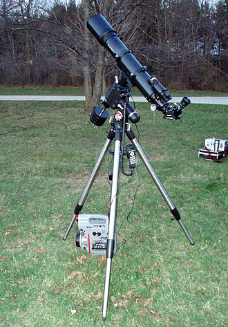 """Orion Telescopes & Binoculars - Orion ED120 apo refractor on Orion's Sirius EQ-G """"GoTo"""" and GPS equipped German equatorial mount with portable 12 volt power supply"""