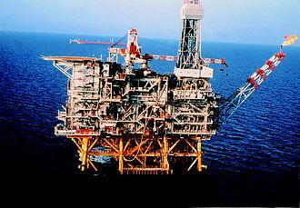 "Italian oil drilling referendum, 2016 - Oil platform ""Vega"" in the Mediterranean Sea off the coast of Pozzallo, Ragusa (Sicily)"