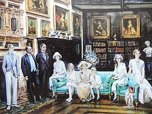 William Lygon, 8th Earl Beauchamp - Earl and Countess Beauchamp with their Family at Madresfield on the occasion of Viscount Elmley's coming of age, William Bruce Ellis Ranken, c. 1925