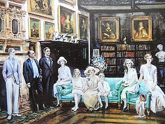 William Lygon, 7th Earl Beauchamp - Earl and Countess Beauchamp with their Family at Madresfield on the occasion of Viscount Elmley's coming of agec. 1925