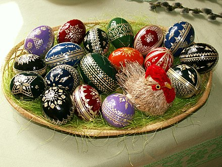 Easter eggs, a symbol of the empty tomb, are a popular cultural symbol of Easter. Easter eggs - straw decoration.jpg