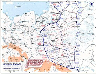 2nd Army (Russian Empire) - Map showing the operations on the Eastern Front during 1915, showing the Second Army located just to the west of Warsaw at the start of the year, and then just north of Minsk at the end of the year