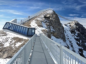 Scex Rouge - Artificial access to the summit (right), through the lower summit (centre), with snow protection and bridges.