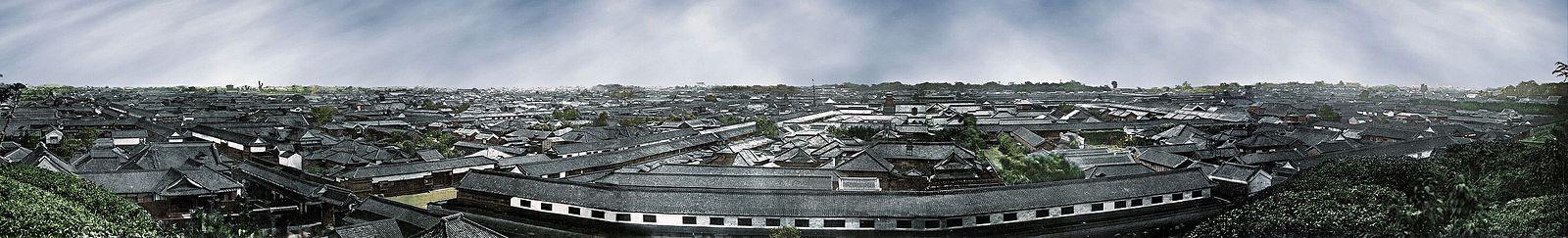 Panorama de Edo (Tokio, en la actualidad), hacia 1865 o 1866. Fotocromo a partir de una fotografía de Felice Beato.
