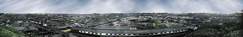 Edo, 1865 or 1866. Photochrom print. Five albumen prints joined to form a panorama. Photographer: Felice Beato.