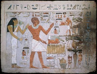 Art of ancient Egypt - The Egyptian figure convention, with the torso shown frontally, the head and legs from the side; fragment from the Tomb of Amenemhet and His Wife Hemet