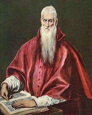 Martyrologium Hieronymianum - Saint Jerome with the Martyrologium Hieronymianum, by El Greco