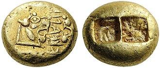 Alyattes of Lydia - Electrum trite, Alyattes, Lydia, 610-560 BCE.