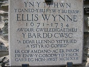 Ellis Wynne - Plaque on house at Lasynys Fawr