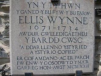 Ellis Wynne - Plaque on house at Lasynys Fawr