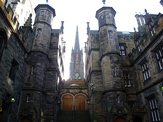 General Assembly of the Church of Scotland - Entrance to the Assembly Hall from New College. The spire of the former Victoria Hall is seen in the background.