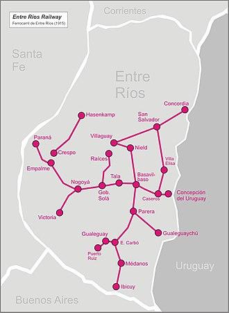Entre Ríos Railway - Image: Entrerios railw map