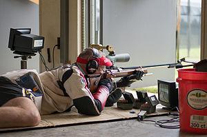 ISSF 300 meter rifle prone - Image: Eric uptagrafft 300m prone 2013
