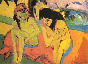Ernst Ludwig Kirchner - Zwei Mädchen (ca.1909).jpg