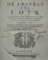 Title page of the first edition of De l'esprit des Loix.