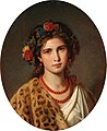 Eugen Felix - Portrait of a Girl with Wreath of Roses in her Hair and Leopard Skin.jpg