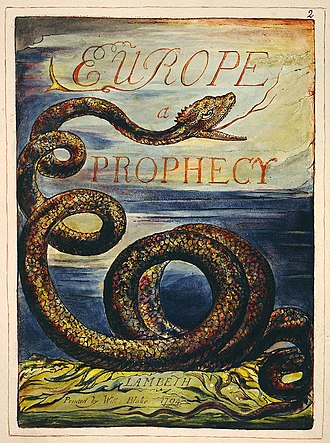 Continental prophecies - Title page of Europe a Prophecy, 1794