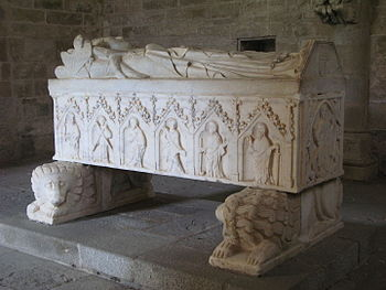Gothic tomb in the cloisters of Évora Cathedra...