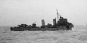 HMS Express (H61) - Express after her bow was blown off by a mine, 1 September 1940