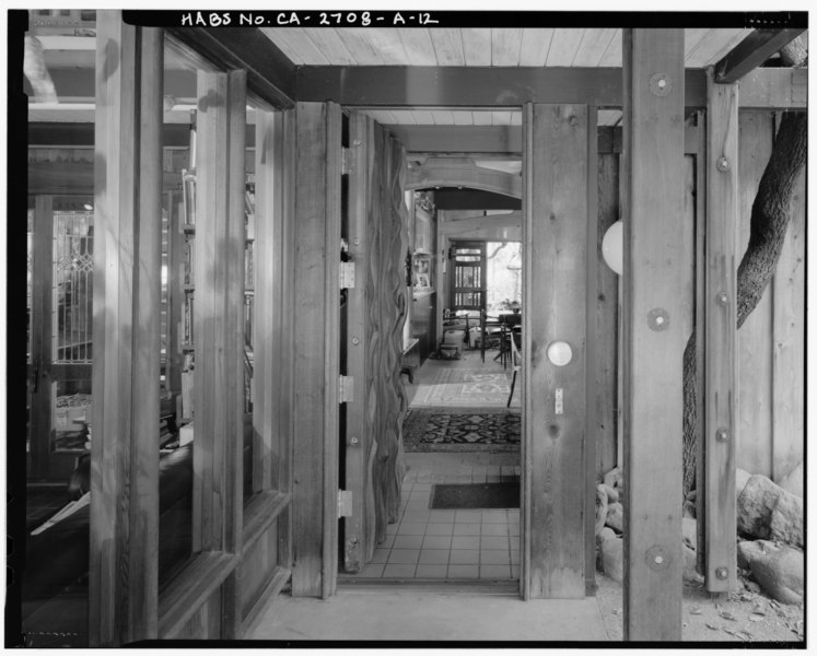 File:Exterior main residence front entry (open) view, facing west. - Sam and Alfreda Maloof Compound, Main Residence and Workshop, 9553 Highland Avenue, Rancho Cucamonga, San HABS CAL,36-RANCU,3A-12.tif