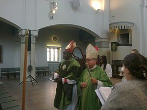 Province of the Episcopal Church of South Sudan - Ezekiel Kondo (left), archbishop of the internal province of Sudan, with David Hamid (right), suffragan bishop in Europe, in Mikael Agricola Church, Helsinki.