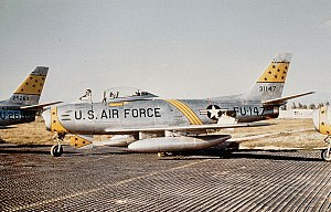 Chambley-Bussières Air Base - North American F-86F-35-NA Sabre Serial 53-1147 of the 21st FBW. Note the aircraft is parked on temporary steel planking, when the parking apron of Chambley was still unfinished.