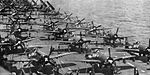 F8F-1 and SB2C-5 aircraft on USS Leyte (CV-32) in 1946.jpg